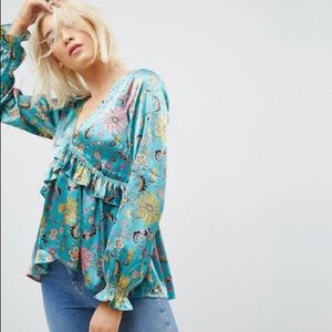 Asos silky high low ruffle blouse